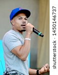 Small photo of Chicago, IL / USA - July 12, 2019: Taylor Bennett performs at 2019 Taste of Chicago at Petrillo Music Shell in Grant Park