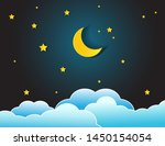 Night Sky With Stars And Moon....