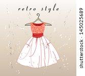 beautiful retro dress on a... | Shutterstock .eps vector #145025689