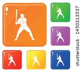 baseball player with bat icons...   Shutterstock .eps vector #1450313537