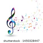 colorful music notes   isolated ... | Shutterstock . vector #1450328447