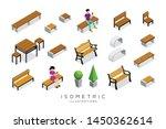 vector isometric wooden bench... | Shutterstock .eps vector #1450362614