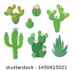 Cartoon Cactus Set. Vector Set...