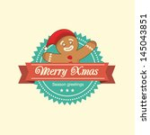 vintage christmas label with... | Shutterstock .eps vector #145043851