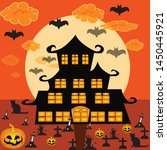 scary halloween atmosphere.... | Shutterstock .eps vector #1450445921