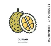 durian fruit icon  outline with ... | Shutterstock .eps vector #1450450391