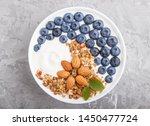 yoghurt with blueberry  granola ... | Shutterstock . vector #1450477724