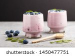 yoghurt with blueberry and... | Shutterstock . vector #1450477751