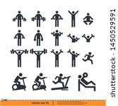 fitness gym icon set vector... | Shutterstock .eps vector #1450529591