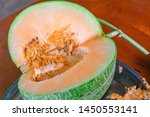 closeup meat and seeds of fresh ... | Shutterstock . vector #1450553141