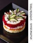 Stock photo russian salad herring under fur coat on a dark background 1450567001