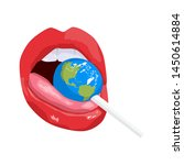 sexy lips with candy earth.... | Shutterstock .eps vector #1450614884