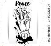 hand human with peace and love... | Shutterstock .eps vector #1450622504