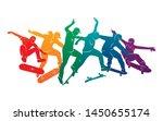 skate people silhouettes... | Shutterstock .eps vector #1450655174