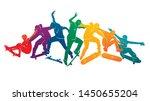 skate people silhouettes... | Shutterstock .eps vector #1450655204