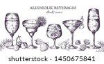 hand drawn cocktails. vintage... | Shutterstock .eps vector #1450675841