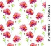 pink peonies seamless pattern | Shutterstock . vector #145068331