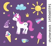 set of cute unicorn or... | Shutterstock .eps vector #1450685591