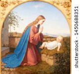 Small photo of Valenciennes, France. 2017/9/14. The painting of Madonna adoring the infant Jesus by Ernest Deger (1809-1885). Currently in the Museum of fine arts in Valenciennes.