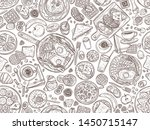 food and dishes hand drawn... | Shutterstock .eps vector #1450715147