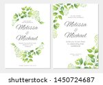 wedding invitation with green... | Shutterstock .eps vector #1450724687