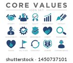 Stock vector business company values icon set integrity leadership quality and development creativity 1450737101