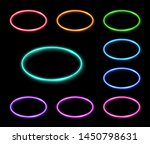 colorful neon oval frames set.... | Shutterstock .eps vector #1450798631