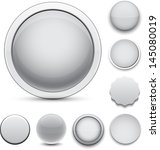 set of blank grey round buttons ... | Shutterstock .eps vector #145080019