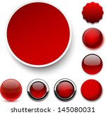 set of blank red round buttons... | Shutterstock .eps vector #145080031