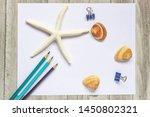 paper pencils seashells clips...   Shutterstock . vector #1450802321