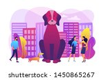 dog lovers. people walking with ... | Shutterstock .eps vector #1450865267