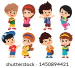 back to school. cute kids... | Shutterstock .eps vector #1450894421