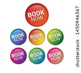 book now   glossy labels or... | Shutterstock .eps vector #1450946567