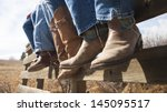 cowboys and cowgirls sitting on ... | Shutterstock . vector #145095517