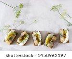 Stock photo tradition danish open sandwich smorrebrod with herring egg mustard and dill dark bread sandwich 1450962197