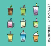 bubble milk tea icons set ... | Shutterstock .eps vector #1450971287