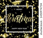 golden text and confetti on...   Shutterstock .eps vector #1450974734