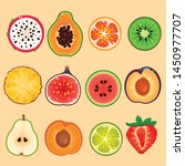 illustration of fruits set in... | Shutterstock .eps vector #1450977707