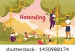 happy family harvesting in... | Shutterstock .eps vector #1450988174