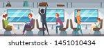 train interior. people inside... | Shutterstock .eps vector #1451010434