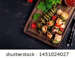 grilled meat skewers  chicken ... | Shutterstock . vector #1451024027