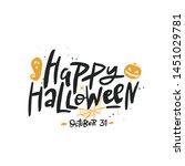 happy halloween lettering ... | Shutterstock .eps vector #1451029781