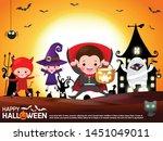 happy halloween. group of child ... | Shutterstock .eps vector #1451049011
