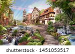 Beautiful view of the street with waterfalls, in flowers and sunshine. Digital fresco, mural. Wallpaper.