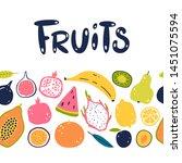 vector hand drawn fruits...   Shutterstock .eps vector #1451075594