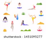 woman in various poses of yoga. ...   Shutterstock .eps vector #1451095277