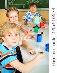 group of school children... | Shutterstock . vector #145110574
