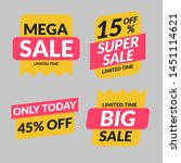 set retail sale tags. mega sale ... | Shutterstock .eps vector #1451114621
