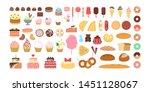 dessert set. cake and donut ... | Shutterstock .eps vector #1451128067