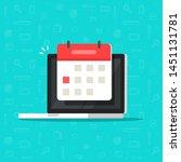 laptop computer with calendar... | Shutterstock .eps vector #1451131781